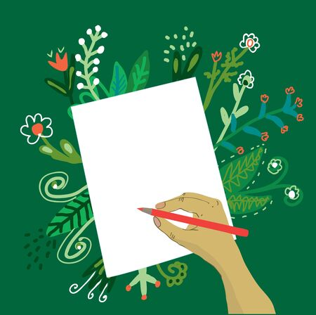 paper graphic: Hand writing on the paper with a pencil and flowers -vector graphic illustration background Illustration