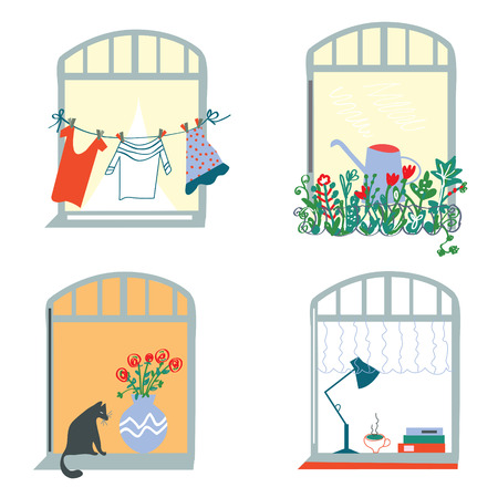 windows home: Windows and home funny set in retro style - vector graphic illustration Illustration