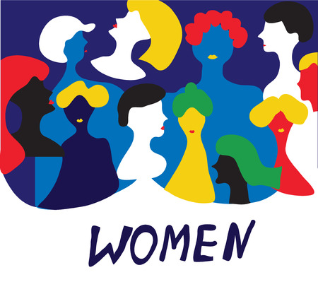 conceptual: Conceptual illustration with women in group - vector graphic design