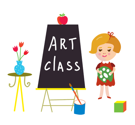 preschool child: Art class card with child and board for kindergarten - cute graphic illustration.