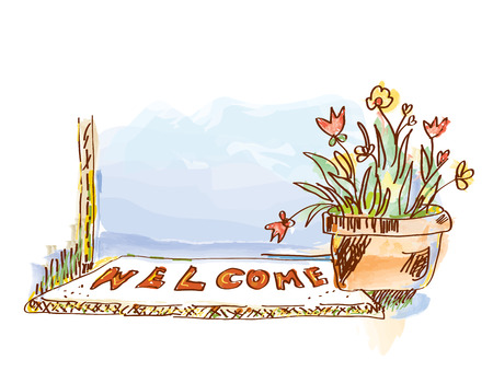 Banner with door and flowers - sketchy style graphic illustration.