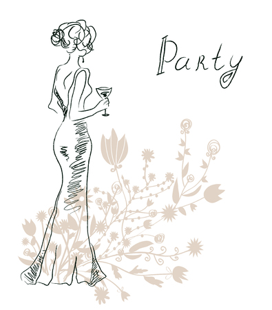 illustration: Cocktail party invitation or card with retro woman and flowers - vector graphic illustration