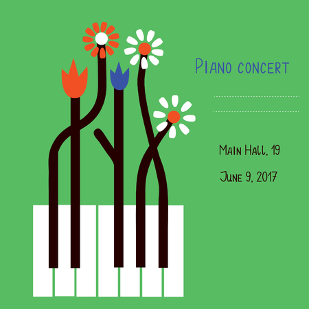 Piano concert design of banner with keys and flowers - vector graphic illustration