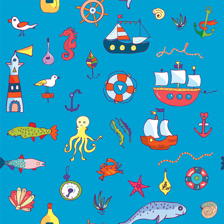 wallpaper doodle: Marine life seamless pattern funny doodle for textiles or wallpaper - vector graphic illustration Illustration