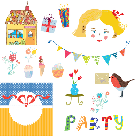 party girl: Party elements for the kids with girl face - vector illustration