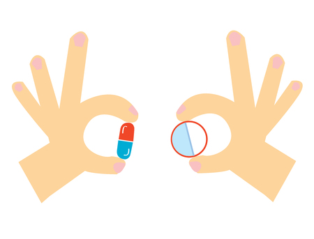Pills in the hand cartoon for the medicine, vector graphic illustration