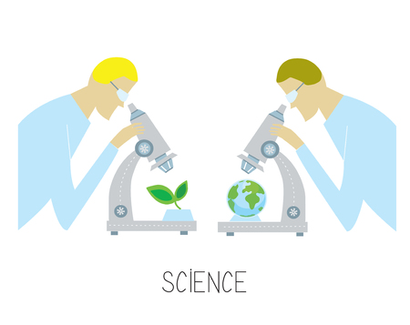 Science concept with researcher and microscope discovering environmental issues. Vector graphic illustration Illustration