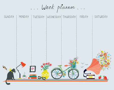weekly: Weekly planner with cute design - home objects, cat, bicycle, flowers, music. Vector graphic illustration Illustration