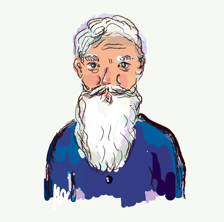 Bearded old man vector illustration in sketchy style