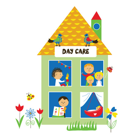 nice girls: Day care or kindergarten illustration with kids - vector graphic