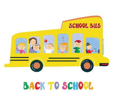 yellow schoolbus: School bus with kids cartoon, vector graphic illustration Illustration