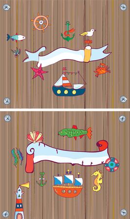 pape: Set of sealife background with frame, with nautical objects. Vector graphic illustration Illustration