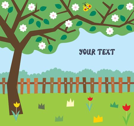 Garden in blossom background in cartoon style, vector graphic illustration