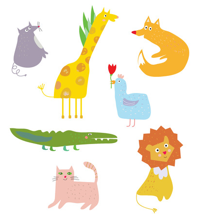 Funny animals cartoon set, vector graphic illustration