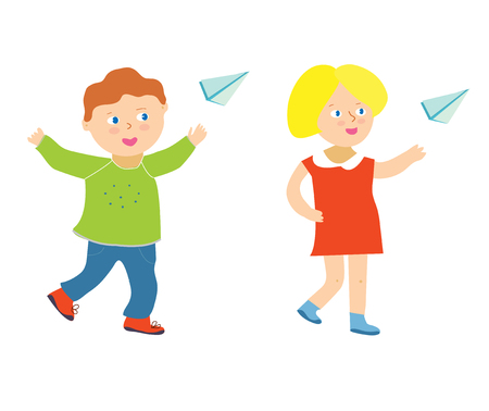 Kids playning with paper plane, boy and girl. Vector graphic illustration
