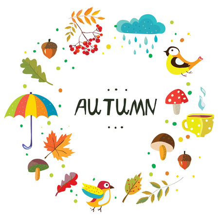Autumn frame with the nature elements and weather, cute style, vector graphic illustration Illustration