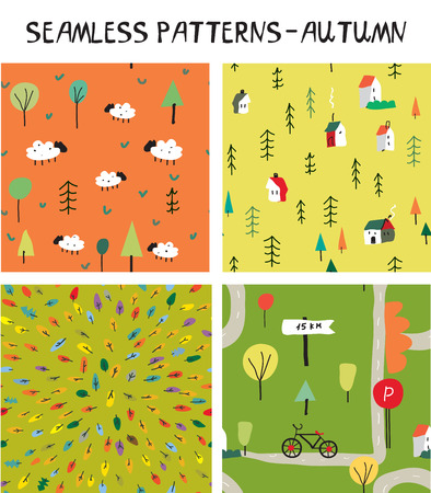 Autumn seamless nature pattern set for tourism and travel. Vector graphic illustration.