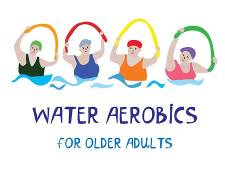 Insegna di aerobica di acqua con le donne senior, illustrazione del grafico di vettore Archivio Fotografico - 86207298