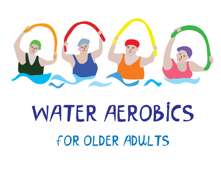 Water aerobics banner with senior women, vector graphic illustration