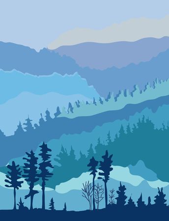 Mountains landscape for the card or banner - outdoor panorama. Vector graphic illustration. Illustration