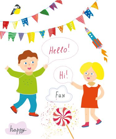 Kids party or presentation collection with funny items - bunting flags, banners, lollipops. Vector graphic illustration