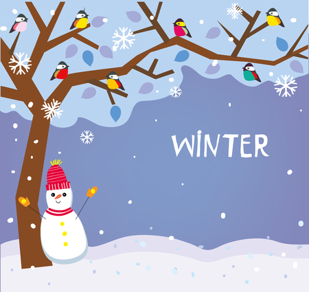 Winter backround with snow, tree and birds for the Christmas card, banner or ad. Vector graphic illustration