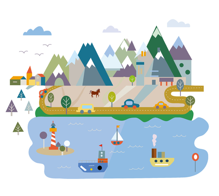 Tourism card with lake and mountains, vector graphic illustration, flat style Illustration