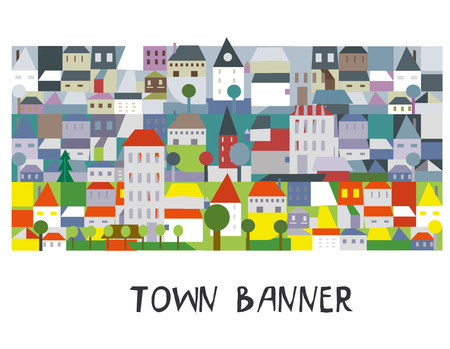 Town funny banner or border, cartoon style, vector graphic illustration