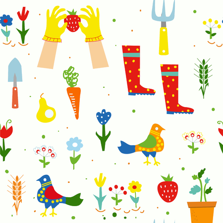 Gardening funny seamless pattern for kids with flowers, tools, birds. Vector graphic illustration Illustration