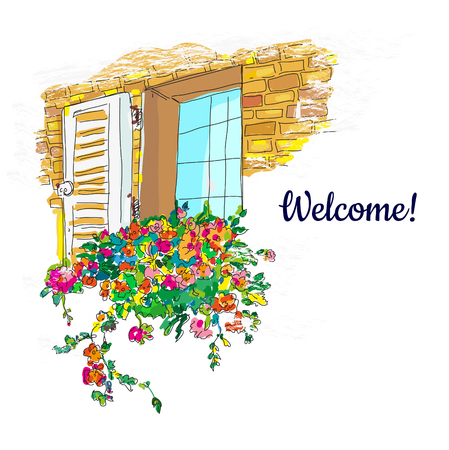 Window and flowers box welcome card, sketchy design.
