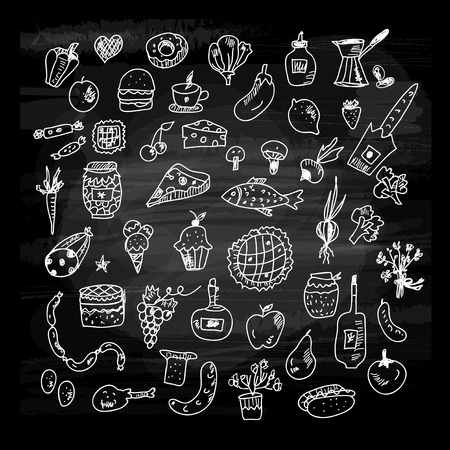 Food icons sketches collection on the blackboard. Illustration