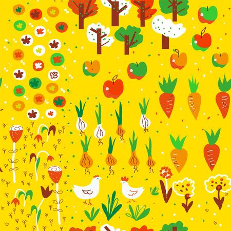 Autumn garden harvest seamless pattern. Cute design, vector graphic illustration