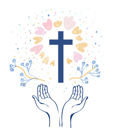 Christianity religion background with hands or prayer and cross, flowers around.