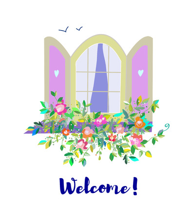 Window and flowers welcome card