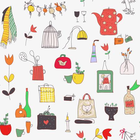 Cuisine modèle sans couture avec tasses, assiettes, nourriture, ustensiles, fleurs et photos. Illustration graphique vectorielle Vecteurs
