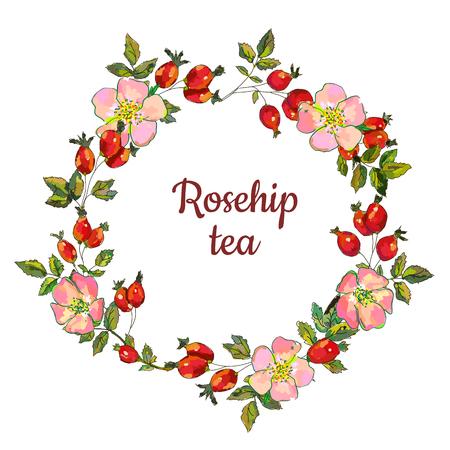 Hagebuttenrahmen für das Teeetikett oder die Karte