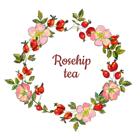 Marco de rosa mosqueta para la etiqueta o tarjeta de té