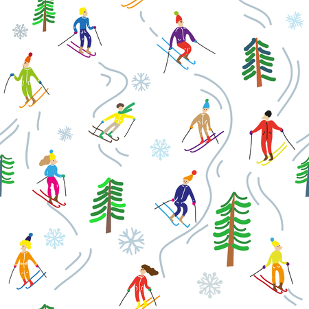Ski sport in the mountains, seamless pattern. Vector graphic illustration