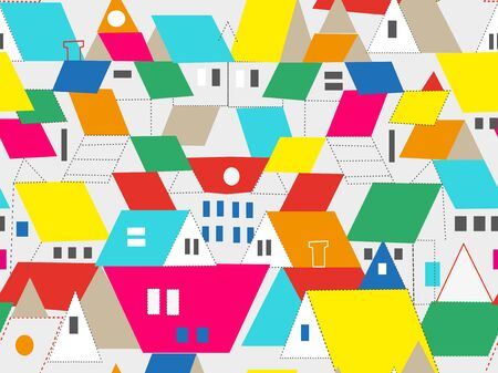 Town and city buildings seamless pattern with roof and window, vector graphic illustration Standard-Bild - 128754060