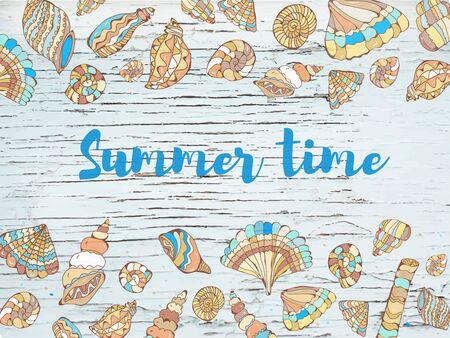 Summer time sea background with shells, hand drawn design. Vector graphic illustration Banco de Imagens - 128754062