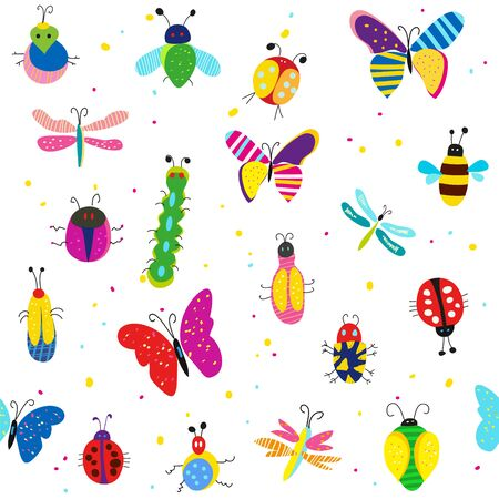 Bugs, butterflies and other insects seamless pattern, cute design. Vector graphic illustration Ilustrace