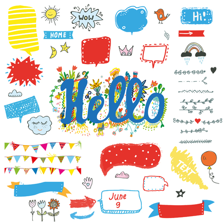 Hello funny stickers and posters set for kids, vector graphic illustration Vector Illustration