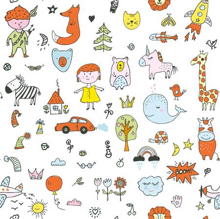 Kinder kritzeln nahtloses Muster für den Kindergarten, süßes Design. Vektorgrafik-Darstellung Vektorgrafik