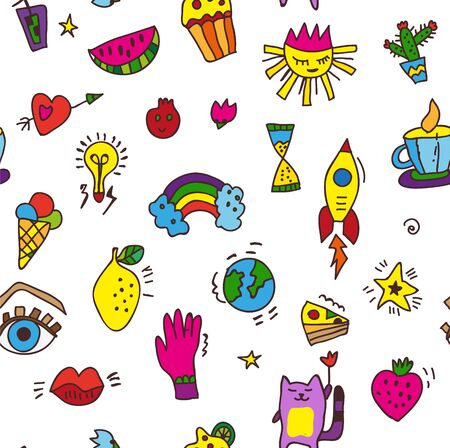 Doodle funny seamless pattern for party or whimsical background. Vector graphic illustration Illustration