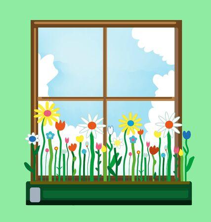 Window and flower box in spring. Vector graphic illustration Standard-Bild - 128754103