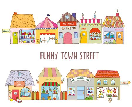 Town street with funny houses. Vector graphic illustration Çizim