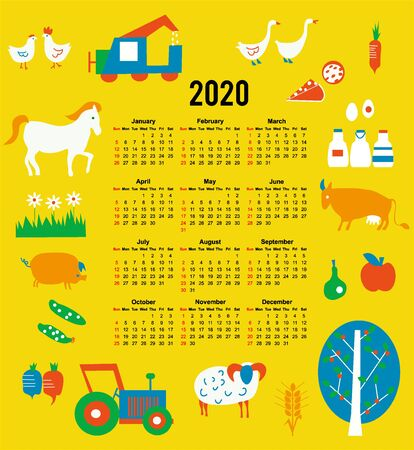 Calendar 2020 for agriculture and farmers. Vector graphic illustration