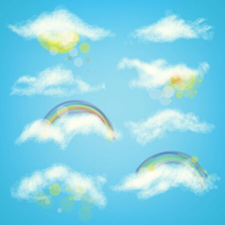 Vector realistic illustration of clouds set on the sky with sun shine, rainbow and flare. Blue environment and rays are around objects  イラスト・ベクター素材