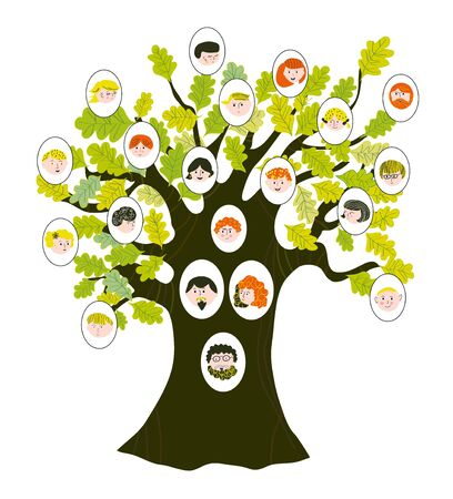 Family tree with relatives portraits for generations. Vector graphic illlustration, cute style