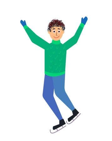 Boy skating - funny cartoon of the character, vector illustration
